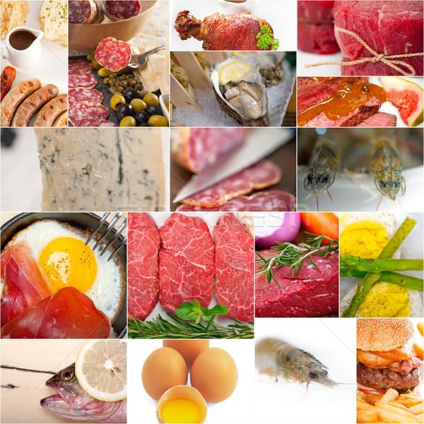 Magas fehérje étel gyűjtemény kollázs fehér Stock fotó © keko64
