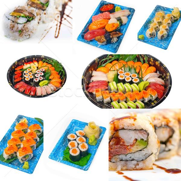 Japon sushi kolaj çok yemek beyaz Stok fotoğraf © keko64