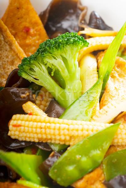 Tofu zöldségek friss egészséges keverék tipikus Stock fotó © keko64