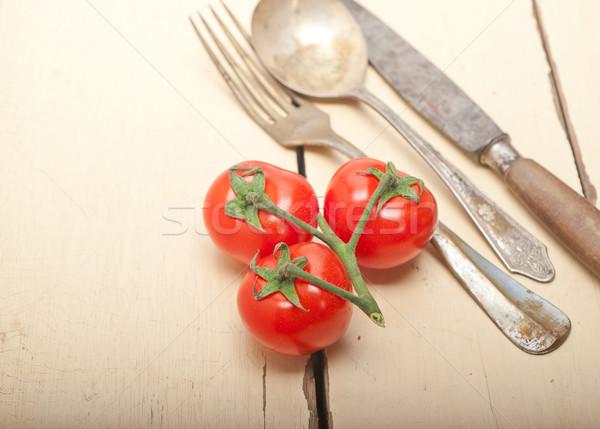 зрелый помидоры черри белый древесины деревенский Сток-фото © keko64