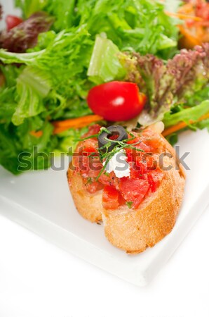Сток-фото: оригинальный · итальянский · свежие · брускетта · служивший · Салат