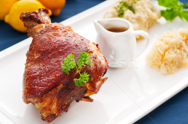 Stock photo: original German BBQ pork  knuckle