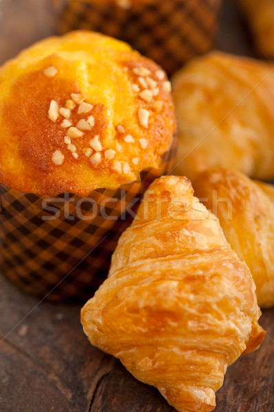 Stock photo: fresh baked muffin and croissant mignon