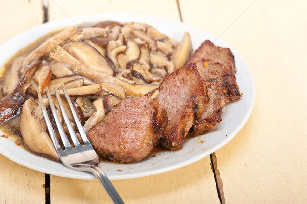 venison deer game filet and wild mushrooms Stock photo © keko64
