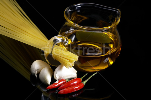 pasta garlic extra virgin olive oil and red chili pepper Stock photo © keko64