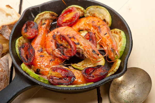 Calabacín tomates hierro fundido alimentos rojo Foto stock © keko64