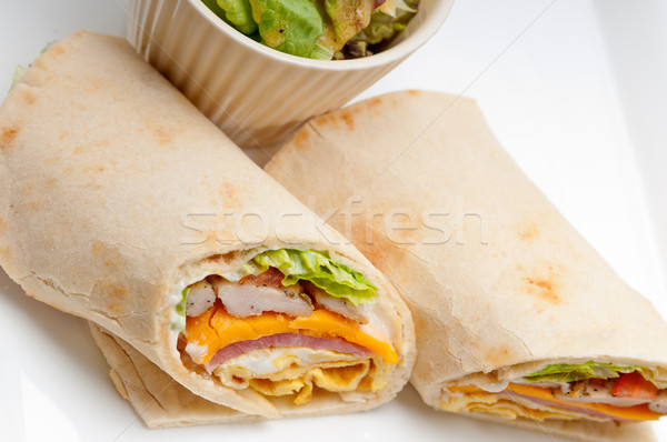 трехслойный бутерброд лаваш хлеб катиться свежие здорового Сток-фото © keko64