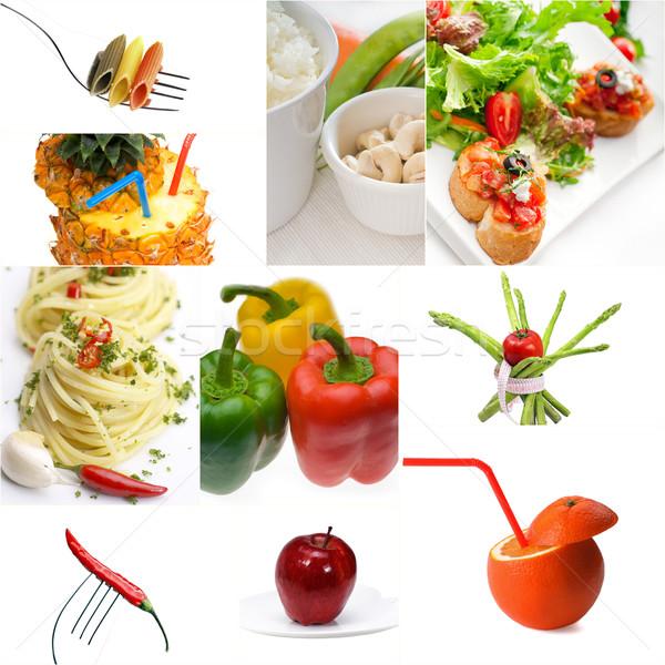 Organic Vegetarian Vegan food collage  bright mood Stock photo © keko64
