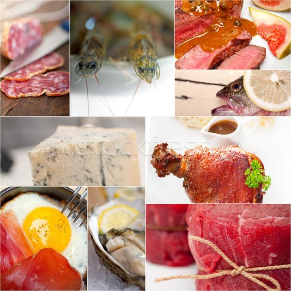 Alto proteína comida coleção colagem branco Foto stock © keko64