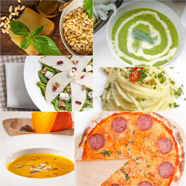 Sani gustoso cucina italiana collage vegetariano pasta Foto d'archivio © keko64