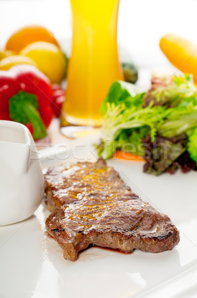 juicy BBQ grilled rib eye ,ribeye steak and vegetables Stock photo © keko64