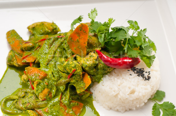 chicken with green curry vegetables and rice Stock photo © keko64