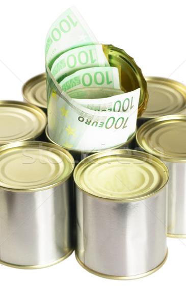 Stock fotó: Euro · számlák · konzervdoboz · konzerv · fehér