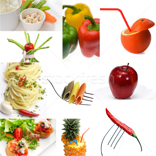 Organic Vegetarian Vegan food collage  bright mood Stock photo © keko64