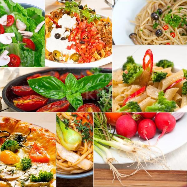 Zdrowych wegetariański żywności kolaż biały Zdjęcia stock © keko64