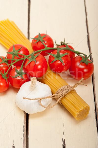Foto stock: Italiano · básico · macarrão · ingredientes · fresco · tomates · cereja