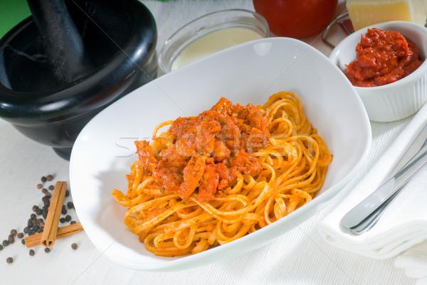 томатный куриные пасты итальянский спагетти свежие Сток-фото © keko64