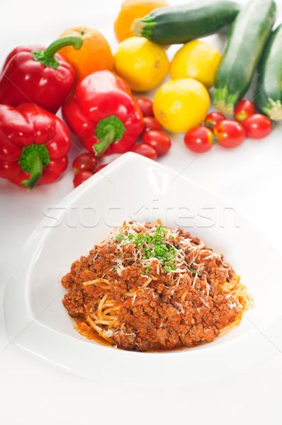 спагетти пасты соус болоньезе итальянский классический свежие овощи Сток-фото © keko64