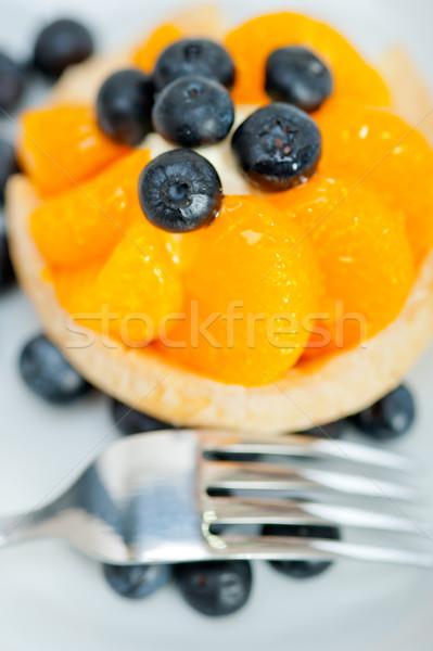 Stock photo: blueberry cream cupcake