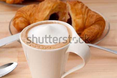 Stockfoto: Pruim · cake · espresso · koffie · witte · rustiek