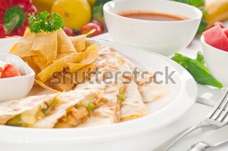 Origineel Mexicaanse nachos geserveerd soep watermeloen Stockfoto © keko64