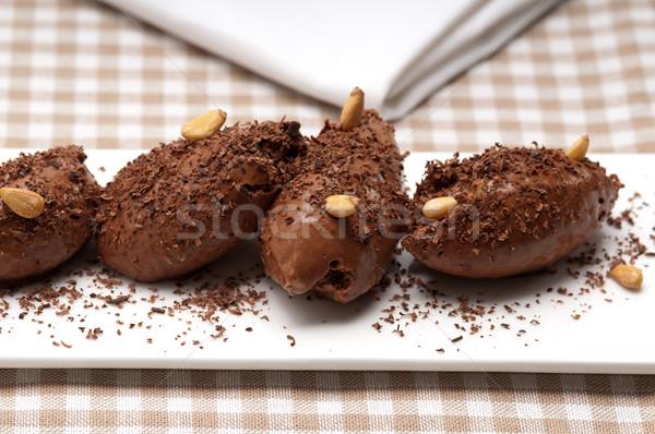 Mus czekoladowy deser świeże czekolady tle Zdjęcia stock © keko64