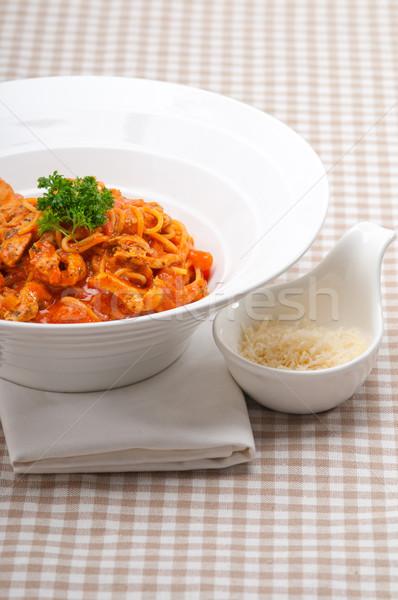 Italiaans spaghetti pasta tomaat kip saus Stockfoto © keko64