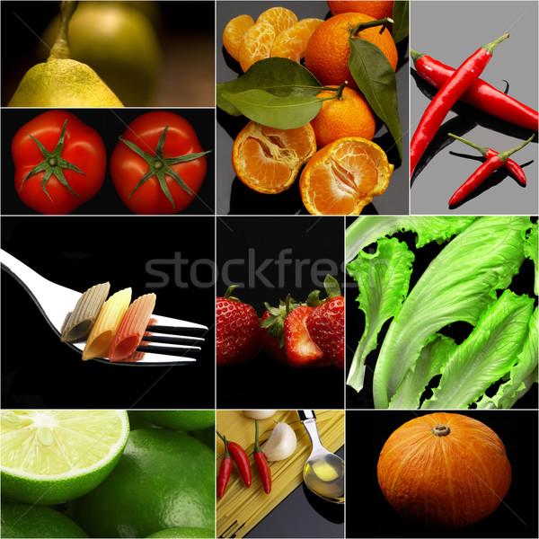 Orgánico vegetariano vegetariano alimentos collage oscuro Foto stock © keko64