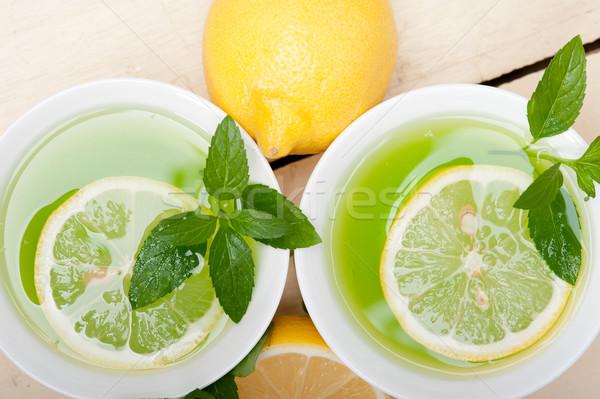Menta infusión té limón frescos saludable Foto stock © keko64