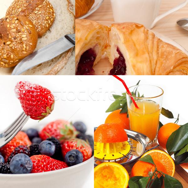 Stockfoto: Vegetarisch · ontbijt · collage · vers · voedzaam · glas