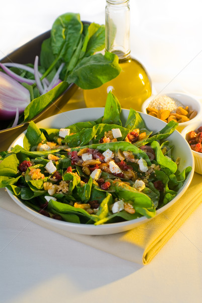 Espinafre salada prato fresco comida Foto stock © keko64