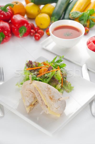 Stock fotó: Tonhal · sajt · szendvics · saláta · hal · friss