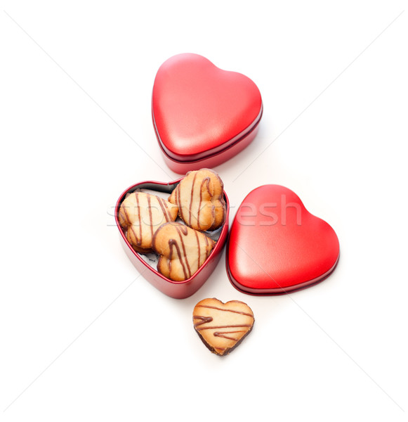 heart shaped cream cookies on red heart metal box Stock photo © keko64