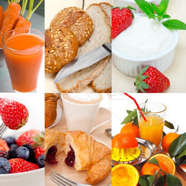 ベジタリアン 朝食 コラージュ 新鮮な 栄養価が高い ガラス ストックフォト © keko64