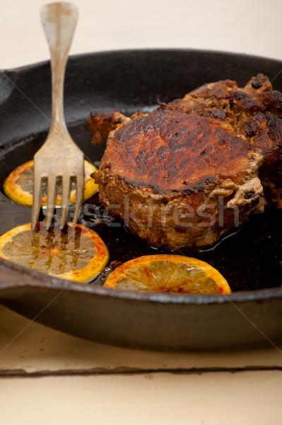 Carne de porco ferro limão temperos Foto stock © keko64