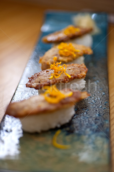 Japanese style sushi fried goose liver Stock photo © keko64