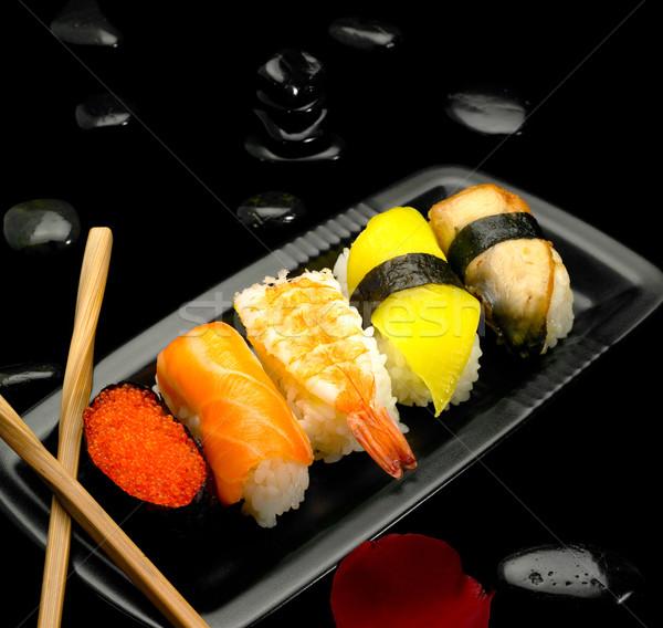 Stockfoto: Sushi · plaat · zwarte · voedsel · diner