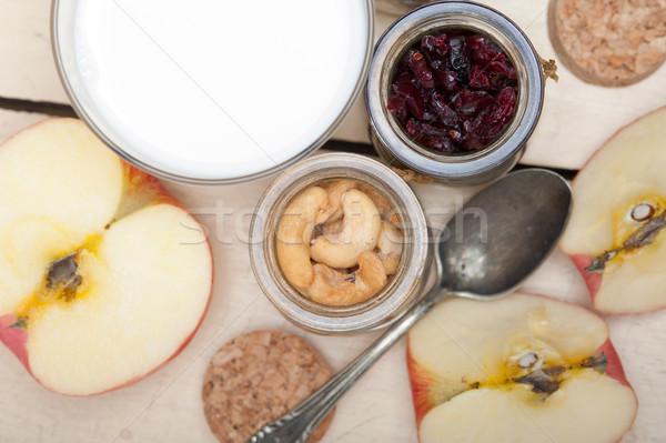 Egészséges reggeli hozzávalók tej zab kesudió Stock fotó © keko64