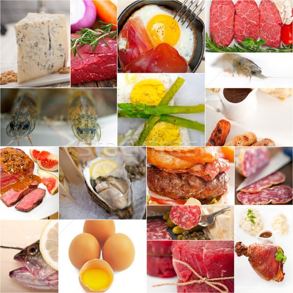 Stock fotó: Magas · fehérje · étel · gyűjtemény · kollázs · fehér