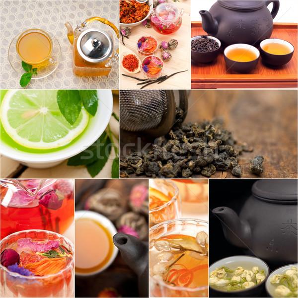 Colección diferente té de hierbas infusión collage blanco Foto stock © keko64