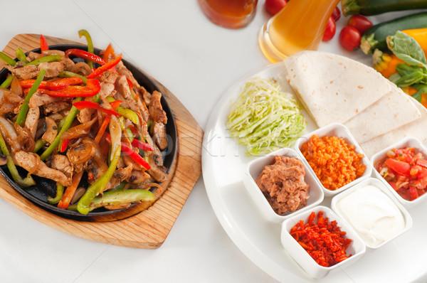 original fajita sizzling hot  on iron plate Stock photo © keko64