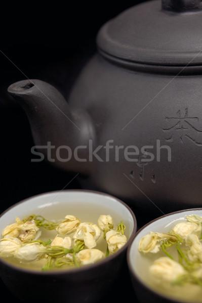 Stock fotó: Kínai · tea · edény · csészék · fekete · virág