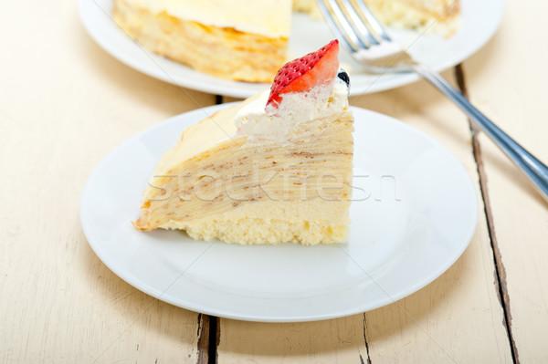 Crepe panqueca bolo chantilly morango topo Foto stock © keko64