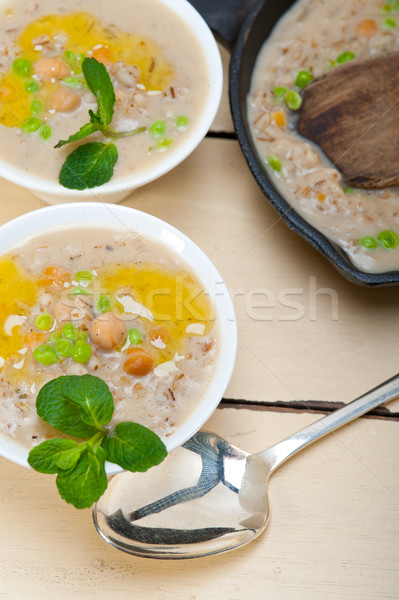 Hearty Middle Eastern Chickpea and Barley Soup Stock photo © keko64