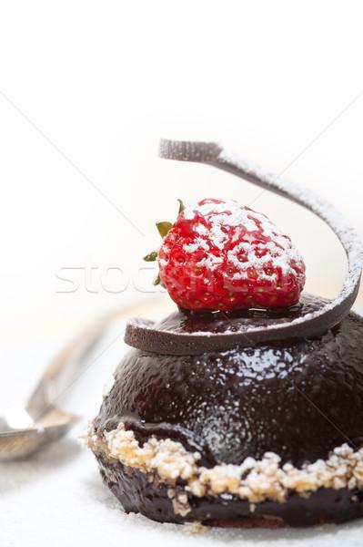 fresh chocolate strawberry mousse  Stock photo © keko64