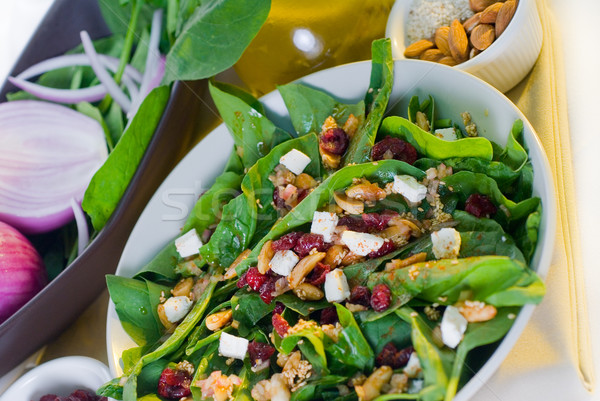 Stock photo: spinach salad
