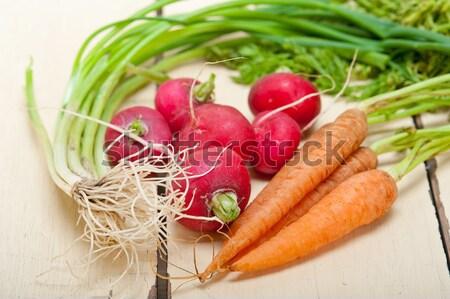 ストックフォト: 生 · ルート · 野菜 · 素朴な · 白