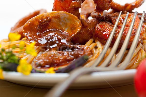 Italiano frutos do mar espaguete macarrão vermelho molho de tomate Foto stock © keko64