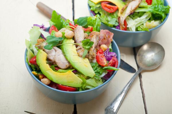 Kip avocado salade vers gezonde rustiek Stockfoto © keko64