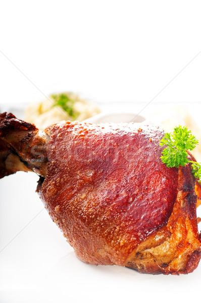 Original churrasco carne de porco servido batatas chucrute Foto stock © keko64